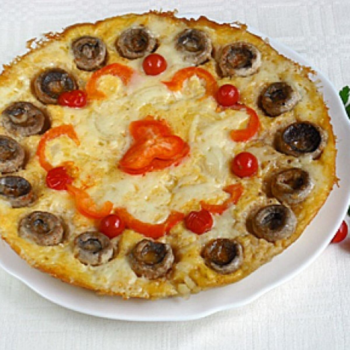 Ezen a képen: Krumplipizza csiperkegombával
