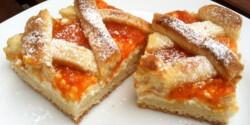 Túrós-barackos-rácsos pite