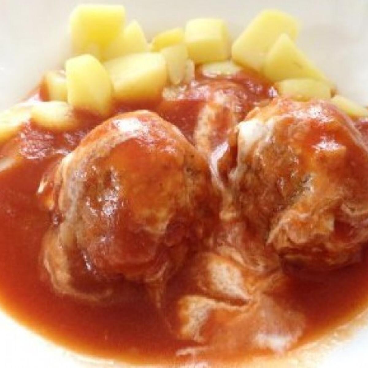 Ezen a képen: Paradicsomos húsgombóc krumplival