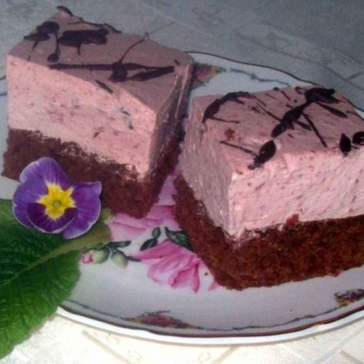 Ezen a képen: Csokoládés-meggyes-joghurtos kocka