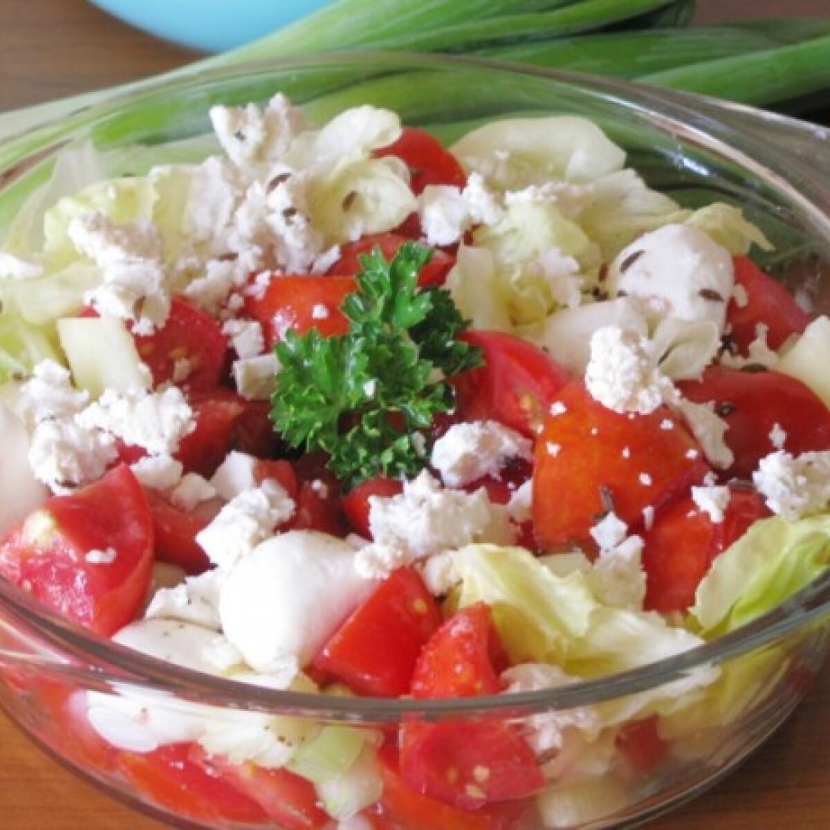 Ezen a képen: Köményes-újhagymás paradicsomos saláta