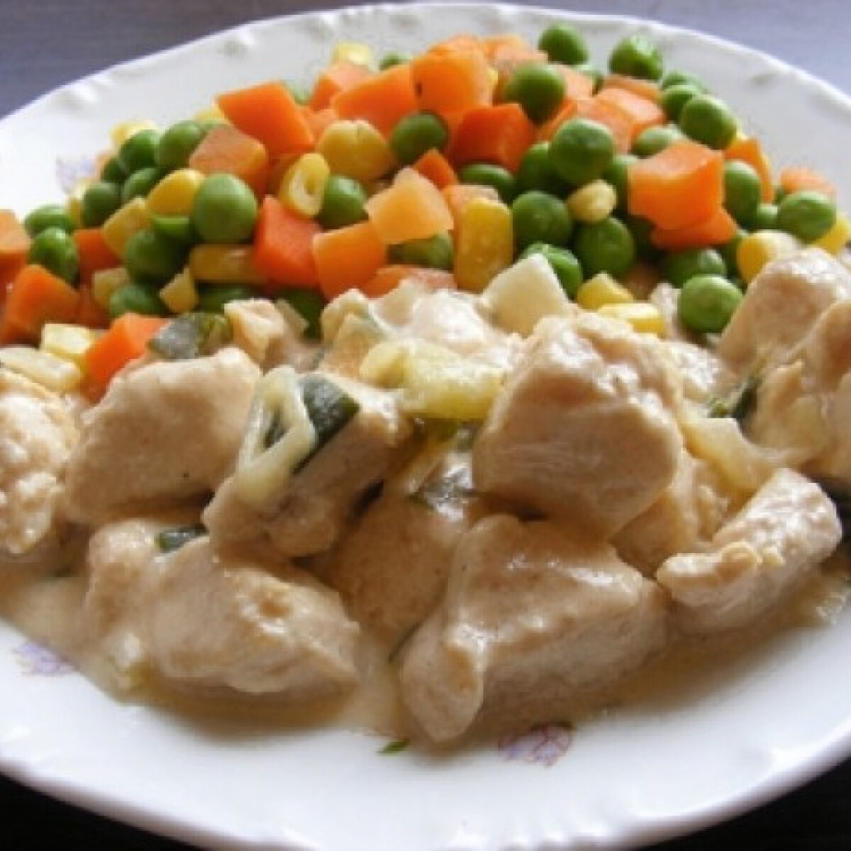 Tejszínes-újhagymás csirkefalatok