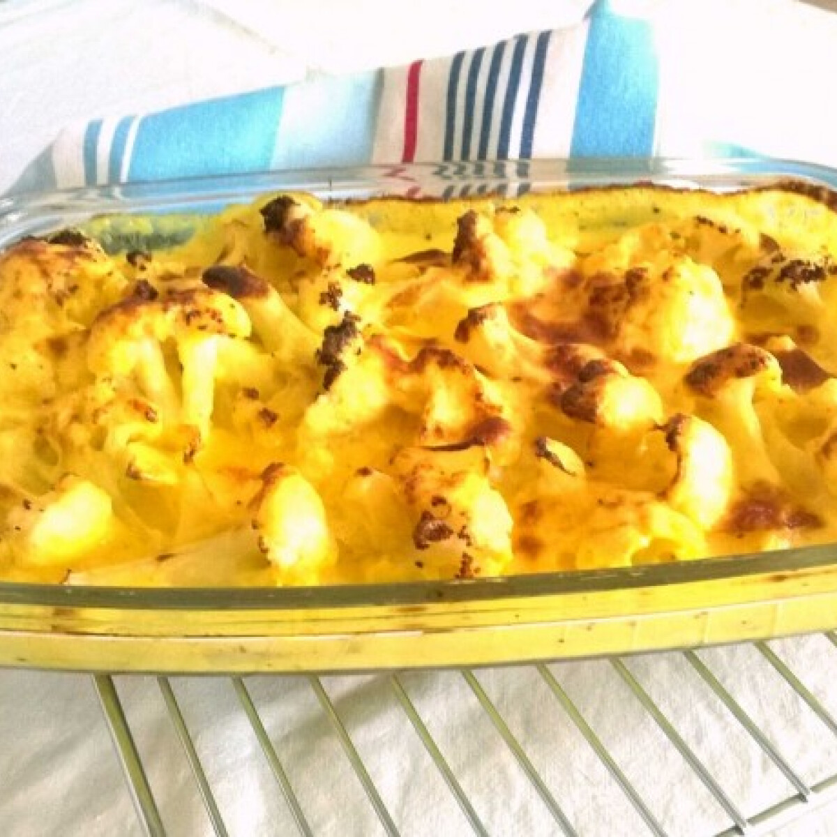 Ezen a képen: Kafiol sajtszószban sütve gluténmentesen