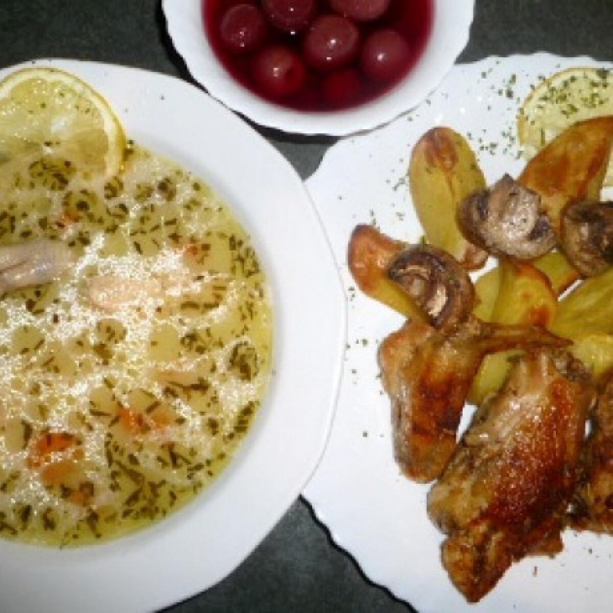 Ezen a képen: Csirkehúsleves és sült csirke