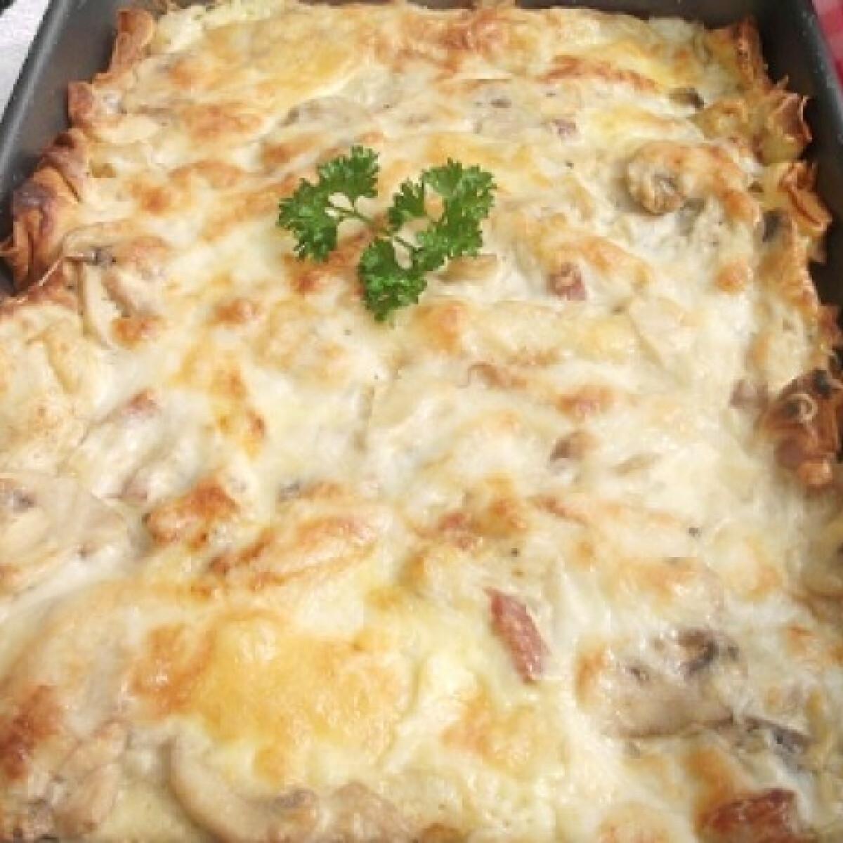 Ezen a képen: Csőben sült sajtos-húsos palacsinta
