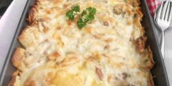 Csőben sült sajtos-húsos palacsinta