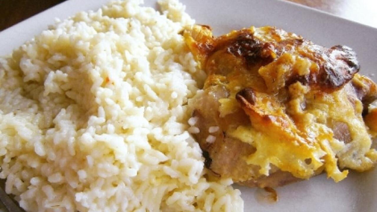 Almás-sajtos csirke rizzsel
