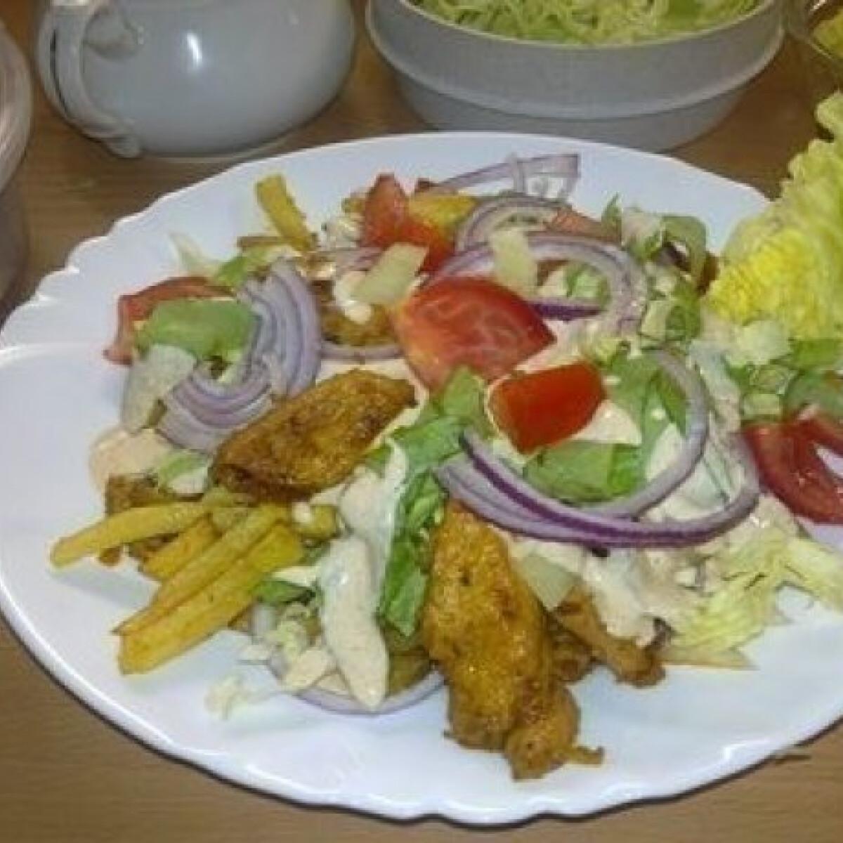 Ezen a képen: Kebab sok zöldséggel