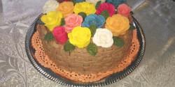 Csokis virágkosár torta