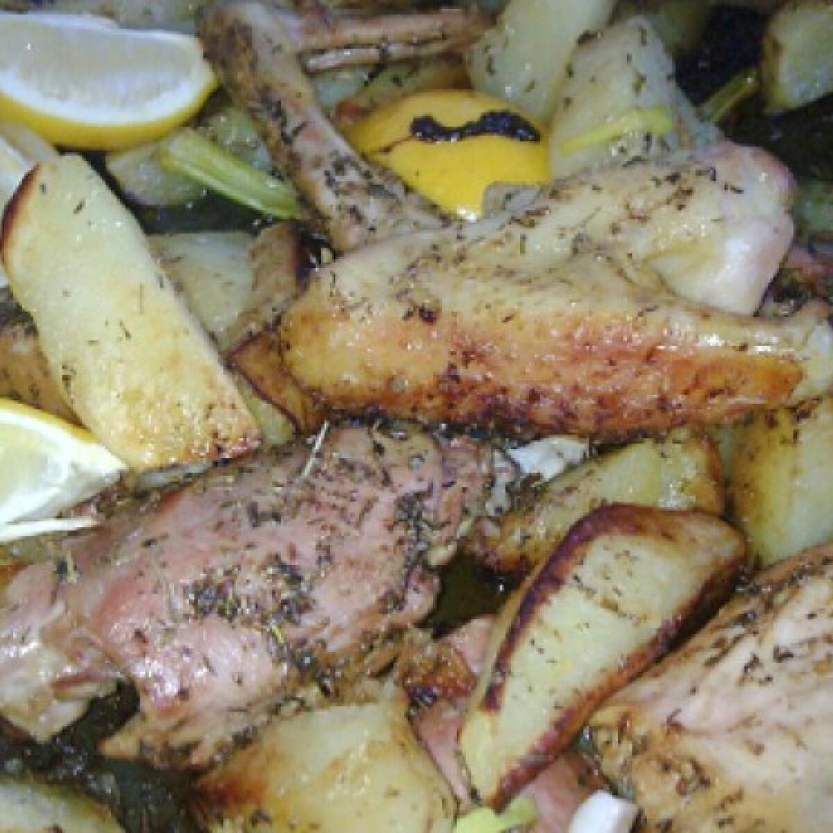 Ezen a képen: Csirke krumplival és citrommal