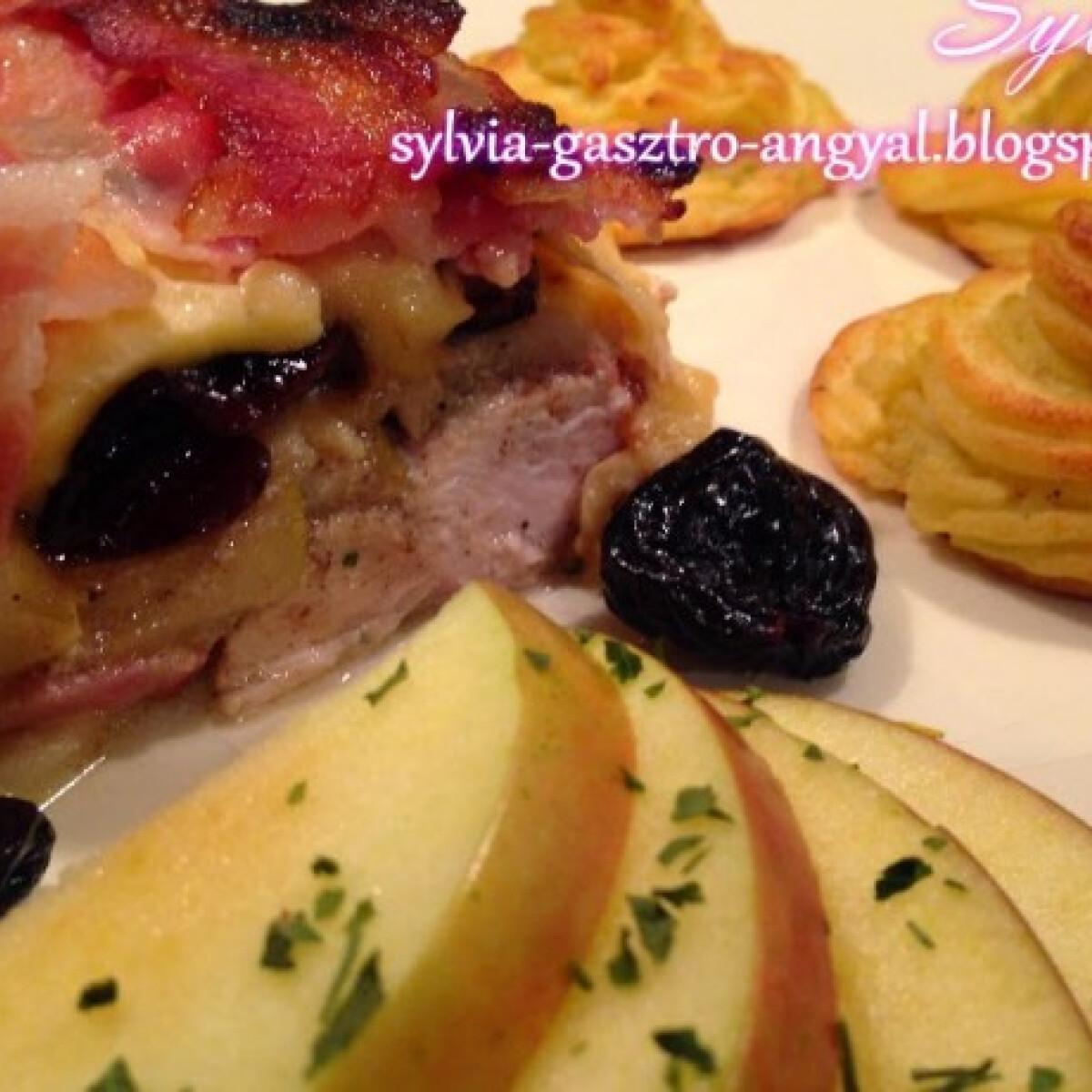 Ezen a képen: Aszalt szilvával és almával rakott csirkemell