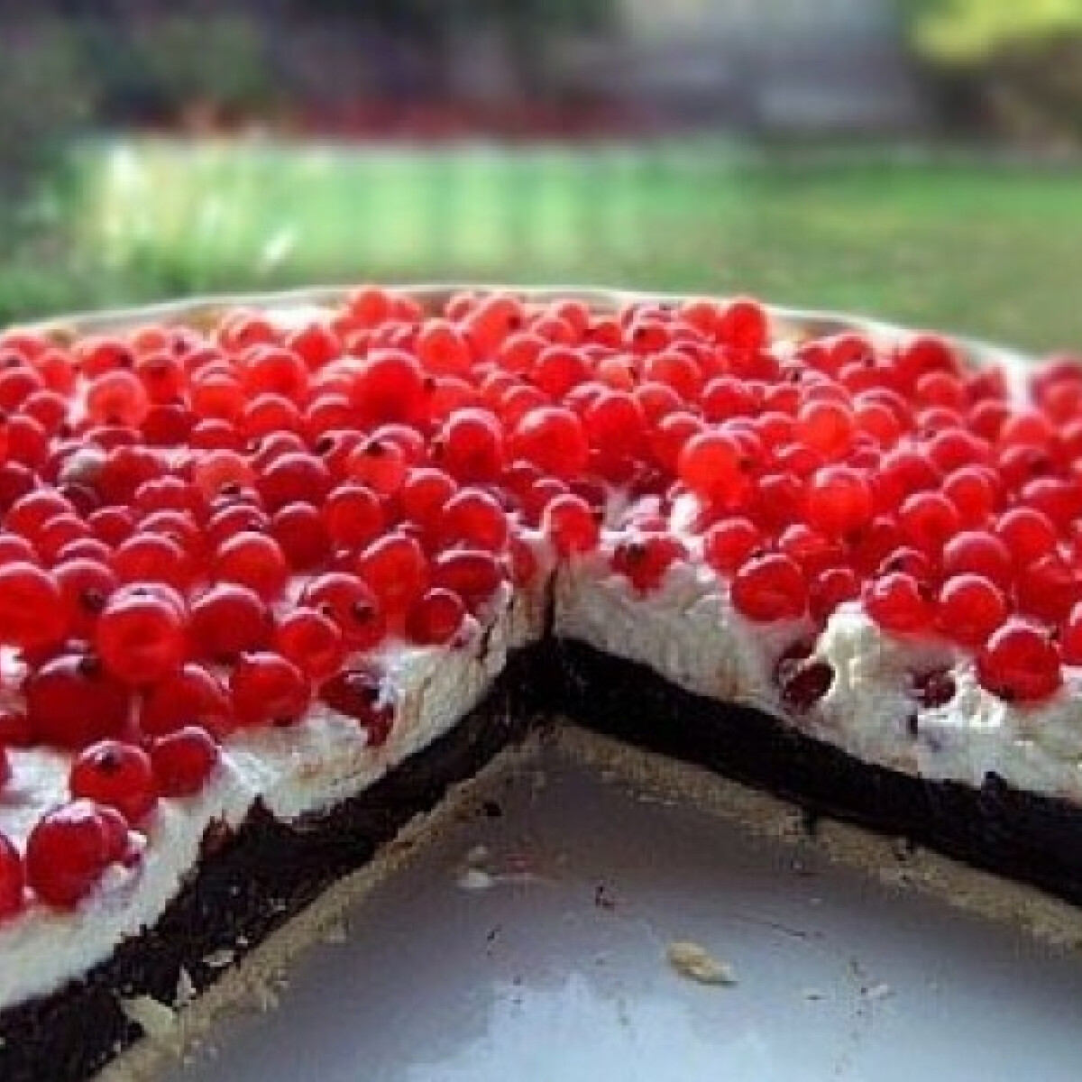 Ezen a képen: Tejszínes-ribizlis csokitorta