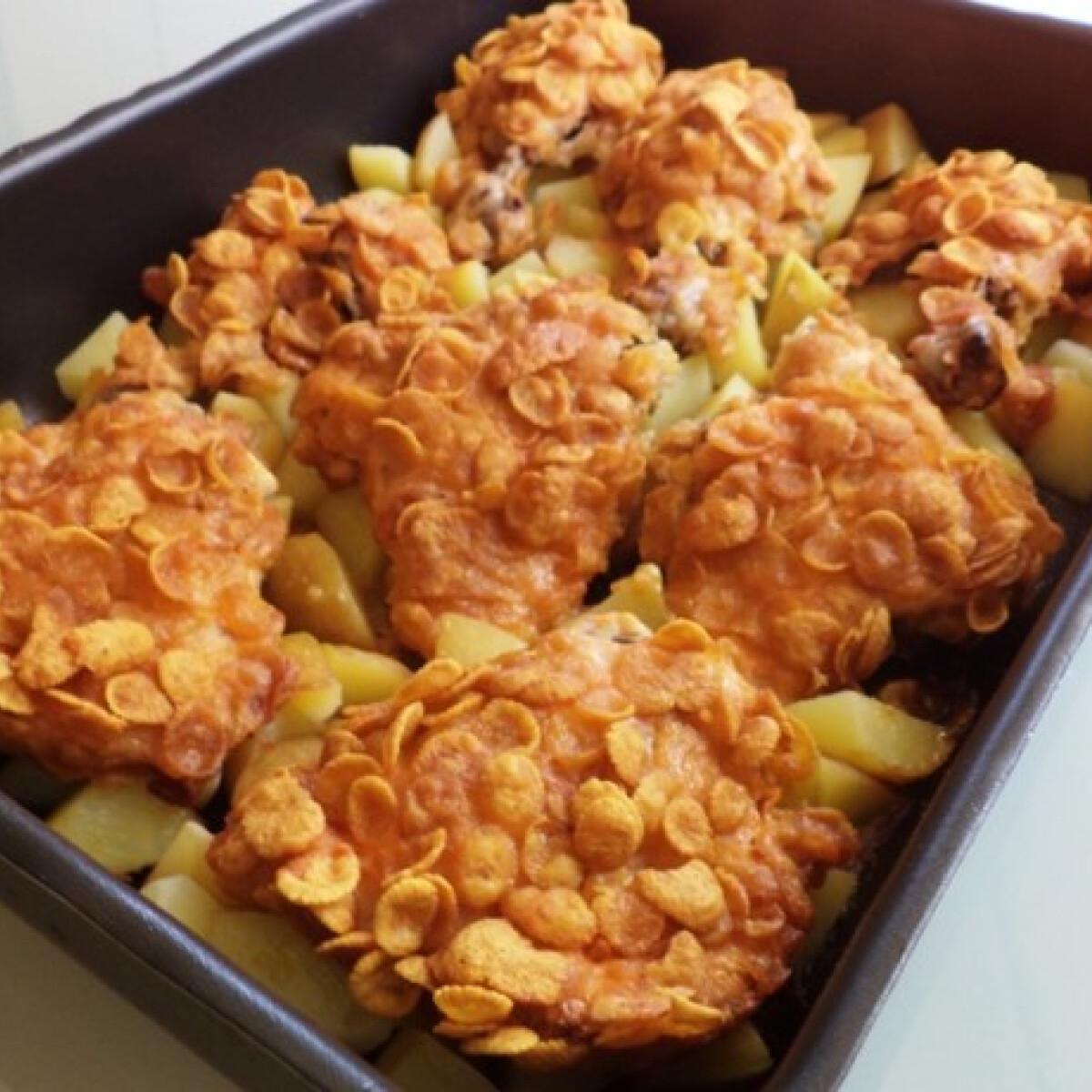 Ezen a képen: Kukoricapelyhes csirkecombok sütőben sütve