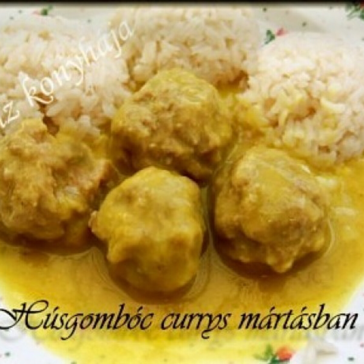 Húsgombóc curry-s mártásban