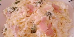 Sonkás-spárgás-túrós-tejfölös tészta