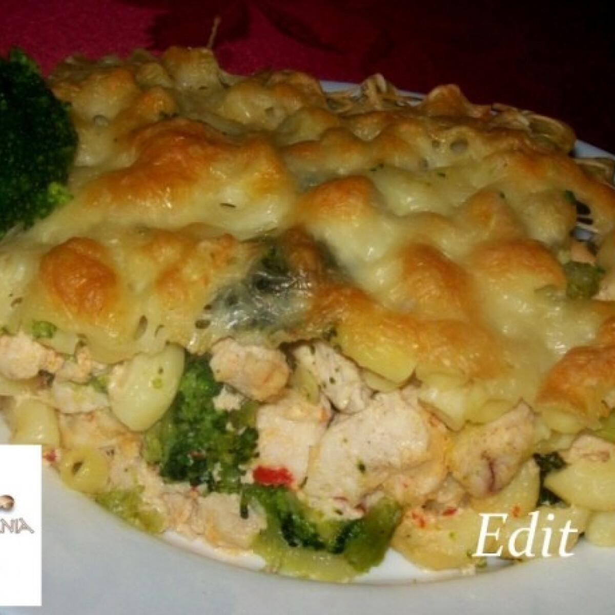 Ezen a képen: Csirkével-brokkolival rakott tészta
