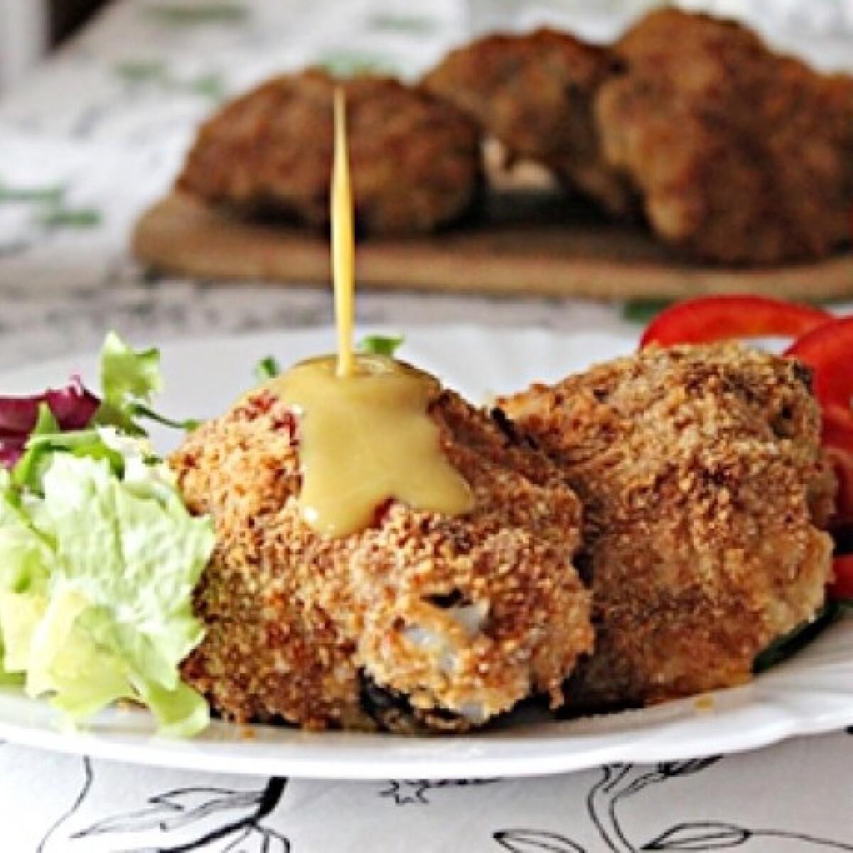 Ezen a képen: Ropogós csirkecomb sósperec bundában