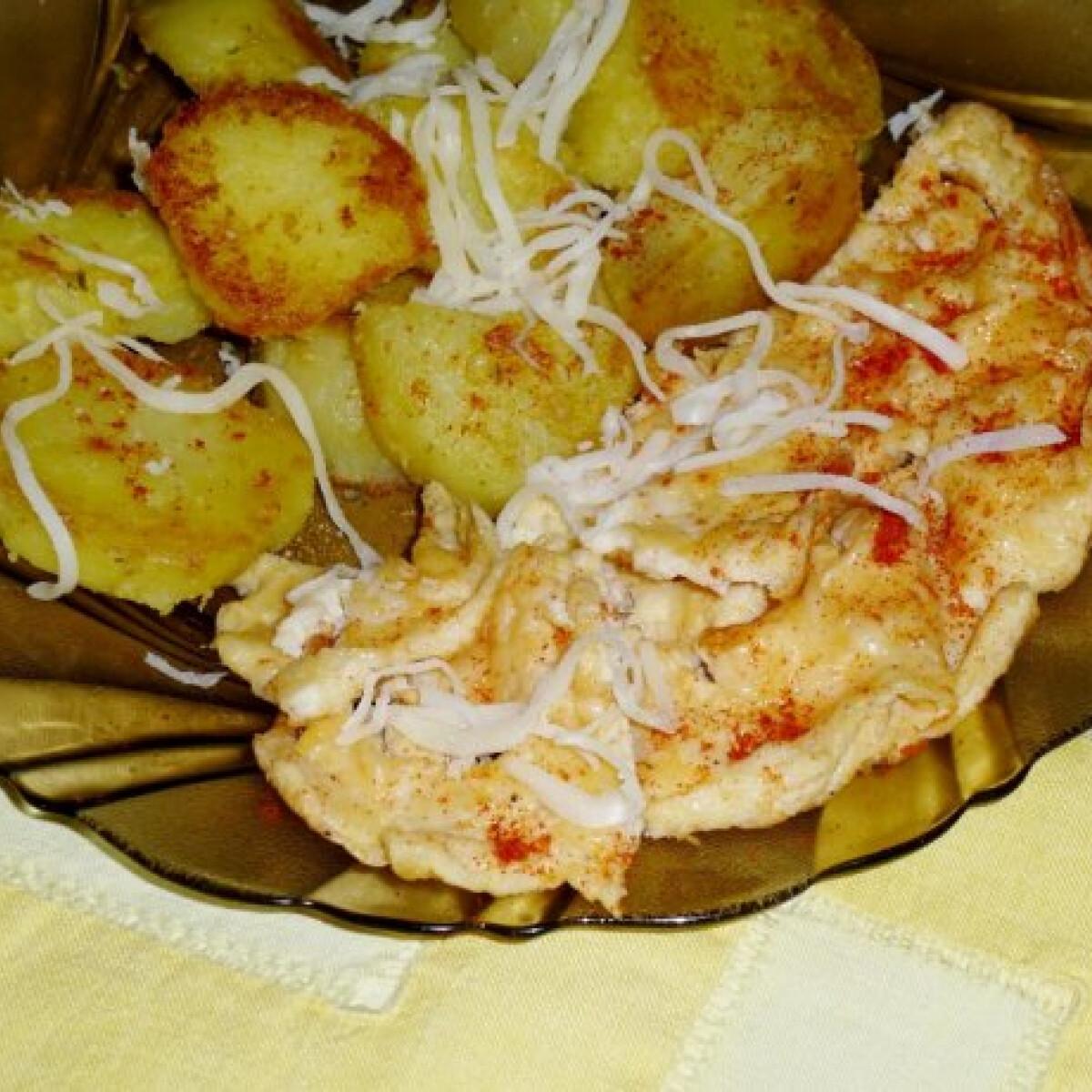 Ezen a képen: Fűszeres lében főtt krumpli sajtos rántottával