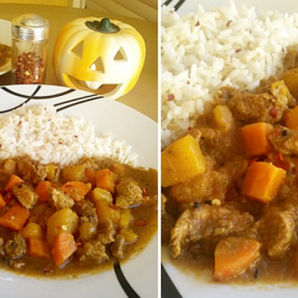 Chilis sütőtök curry