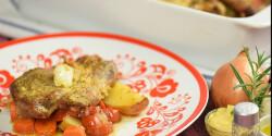 Tepsis mustáros tarja zöldségekkel