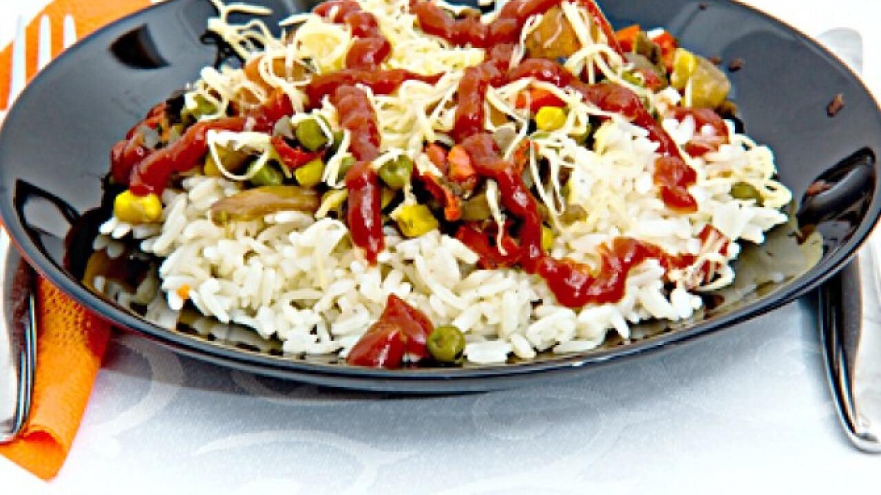 Vegetáriánus rizses egytálétel