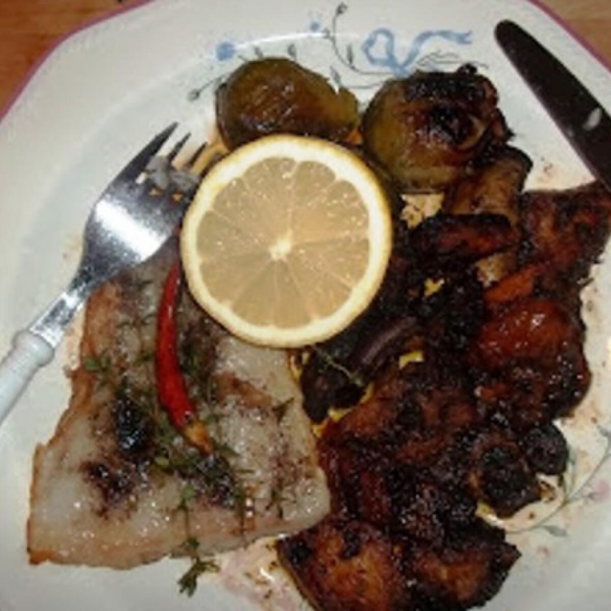 Ezen a képen: Grillezett pangasius édeskrumplival és zöldségekkel
