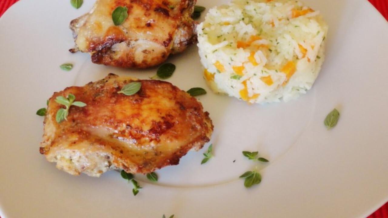 Görögösen pácolt sült csirkecombok