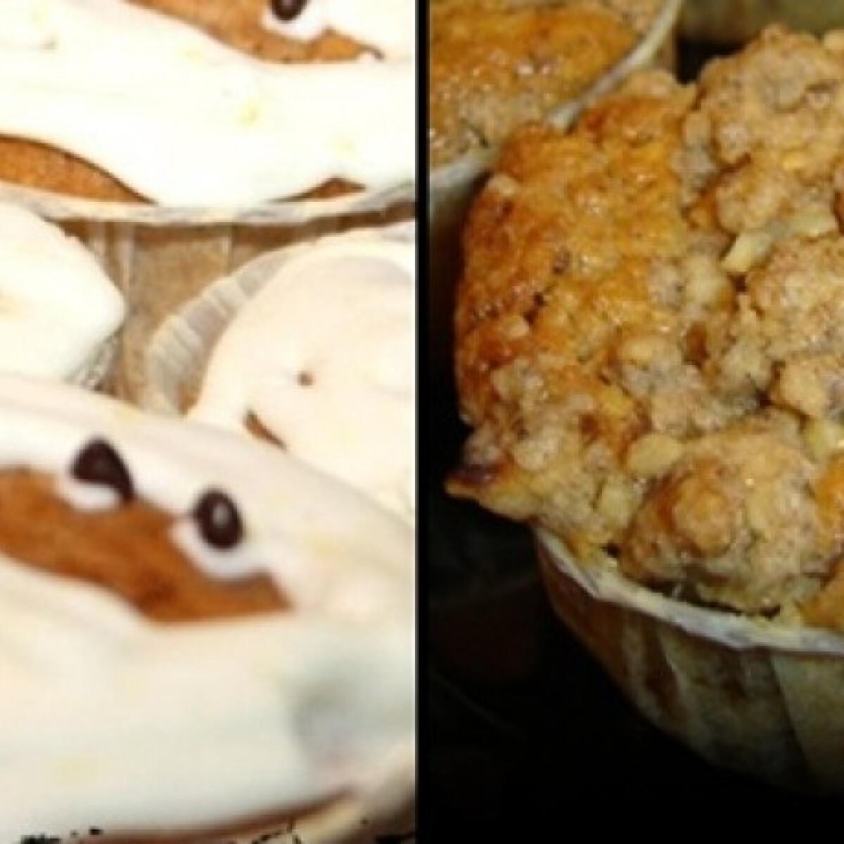 Ezen a képen: Almás-morzsás halloween muffin