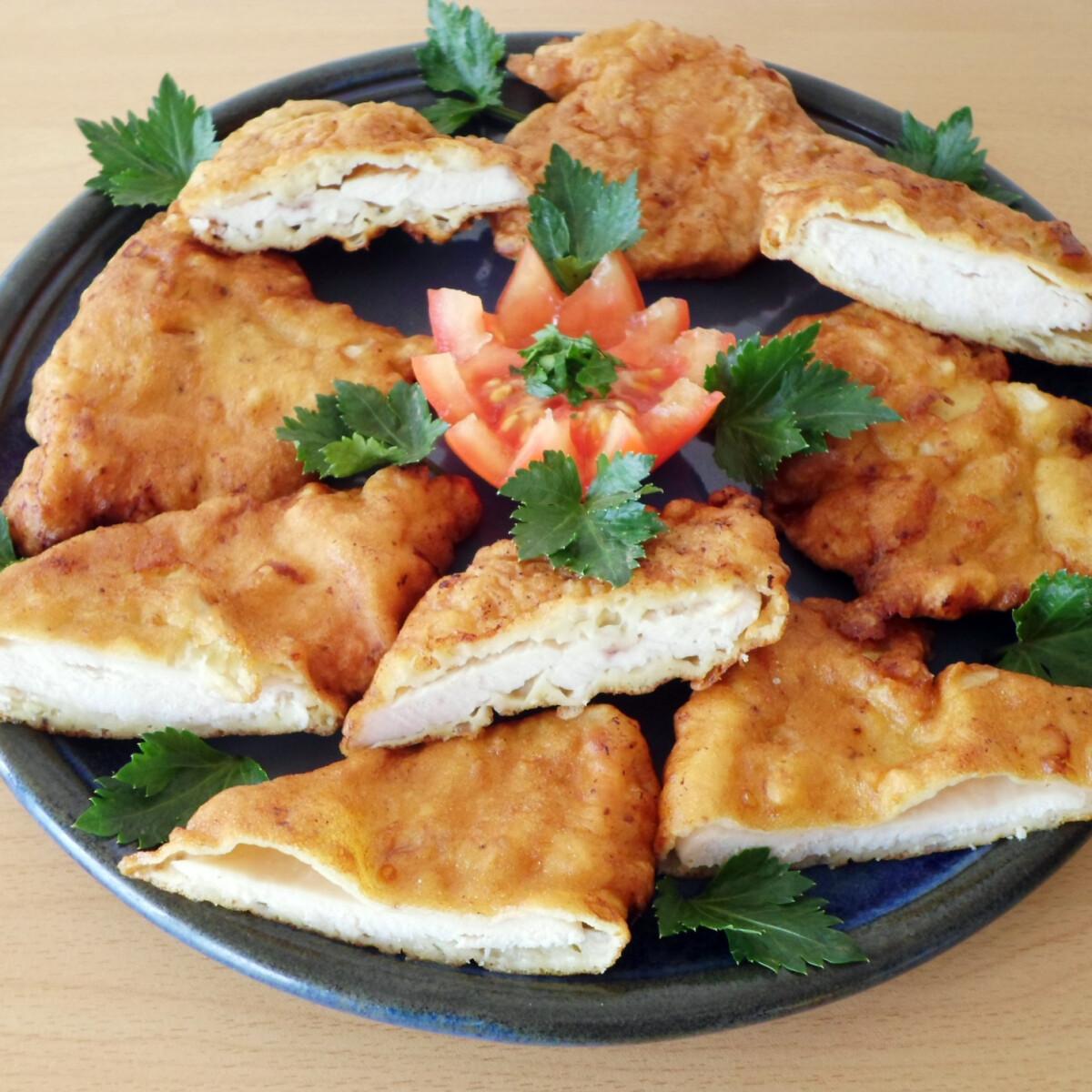 Csirkemell vargányás palacsintatésztában