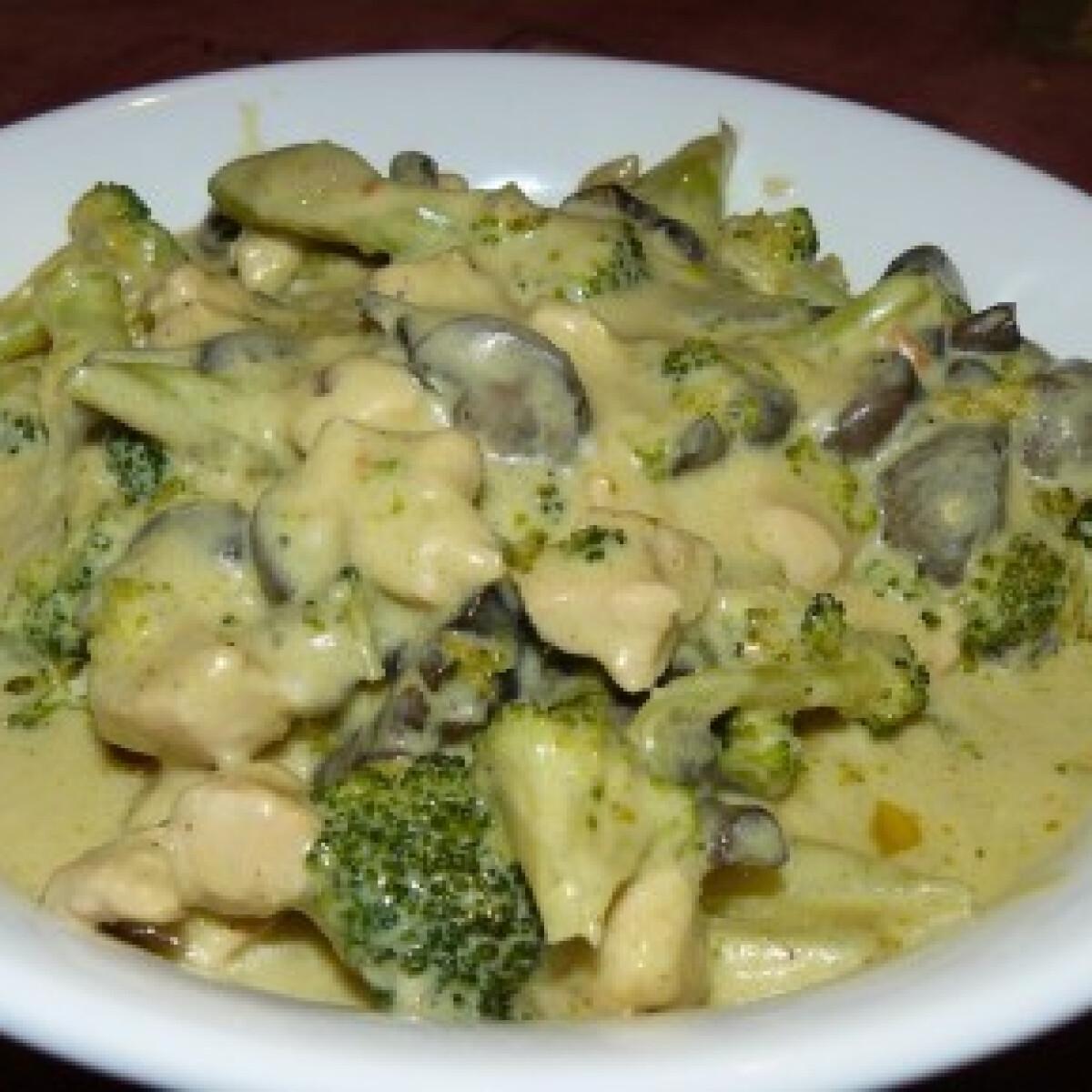 Ezen a képen: Brokkolis-gombás-kókusztejes csirke