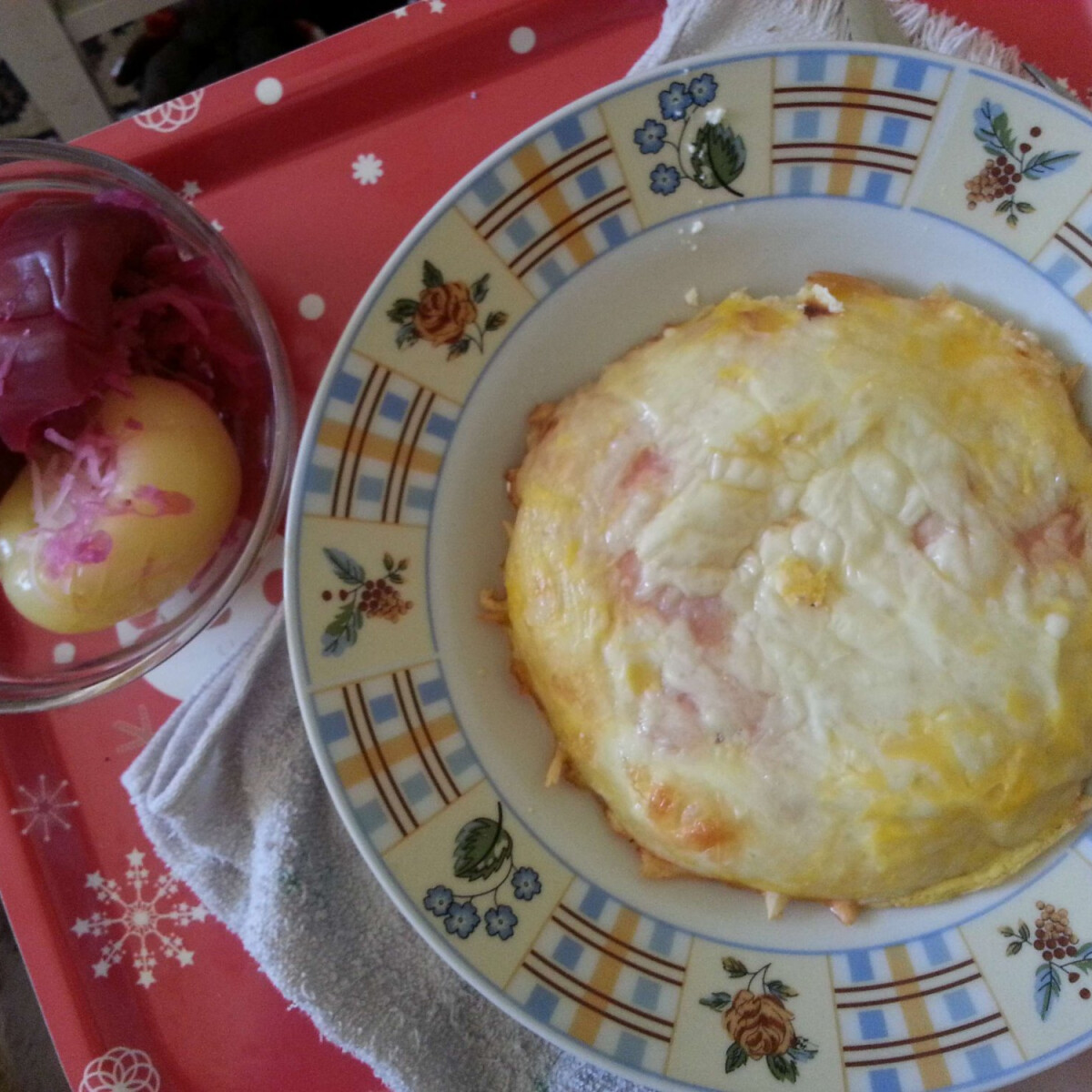Sonkás-sajtos rántotta