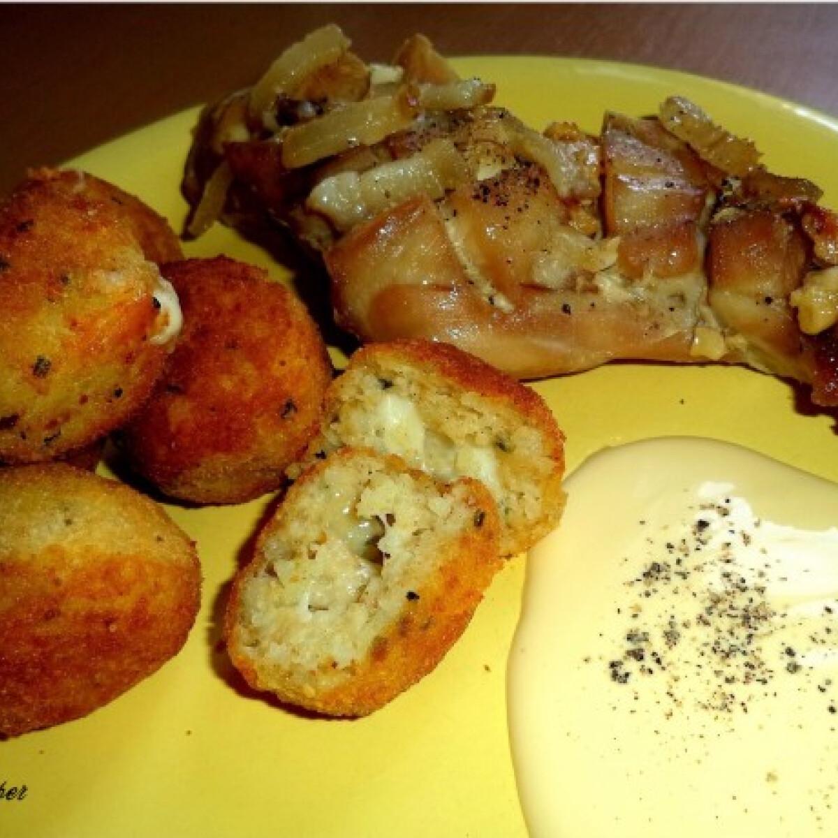 Ezen a képen: Fokhagymával szalonnával pácolt nyúlcomb sült rizsgolyókkal