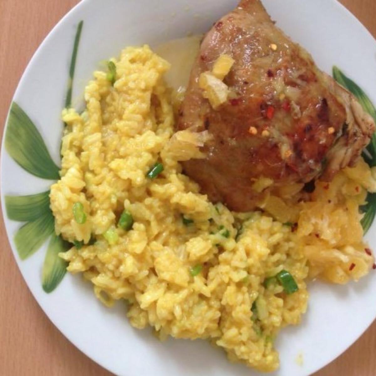 """Ezen a képen: Töltött csirkecomb currys """"rizottóval"""", mézes-chilis naranccsal"""