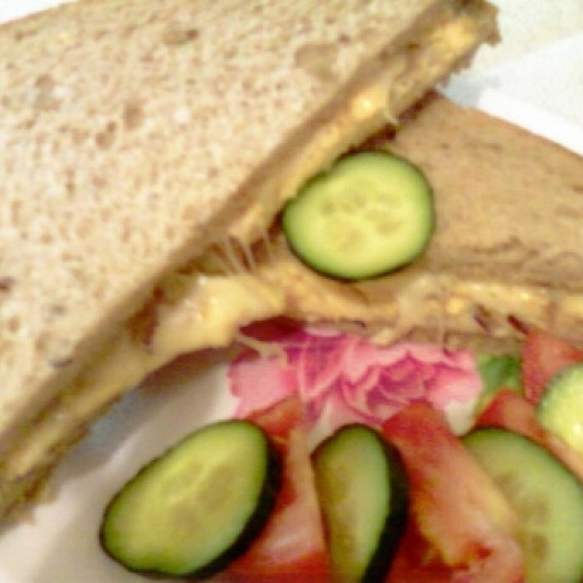 Ezen a képen: Lilahagymás-sajtos-rántottás szendvics