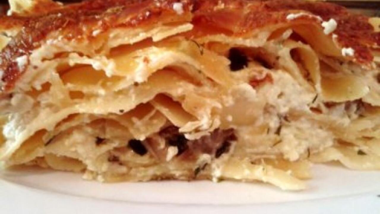 Juhtúrós-kapros-medvehagymás lasagne