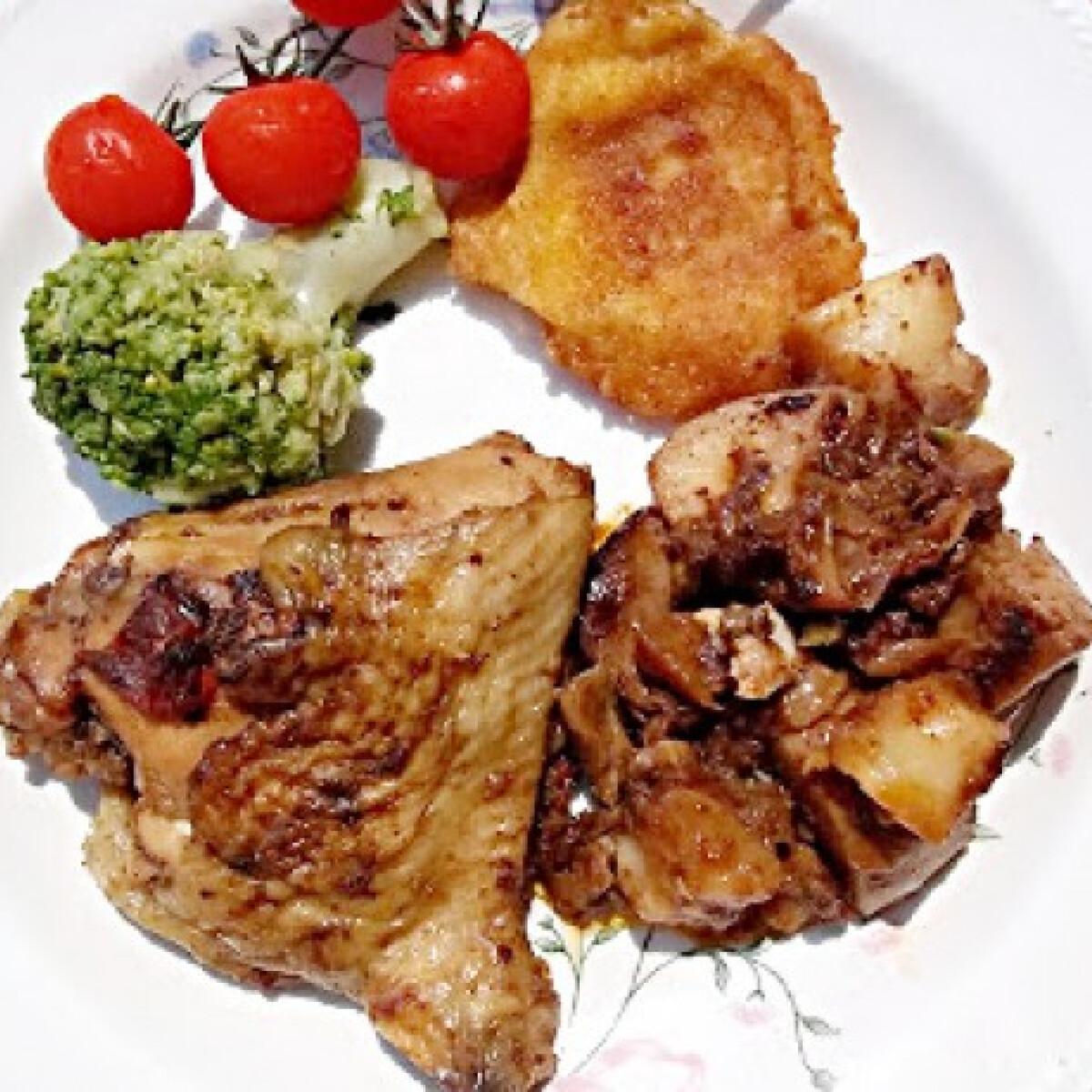 Mustáros sült csirke felsőcomb krumplival