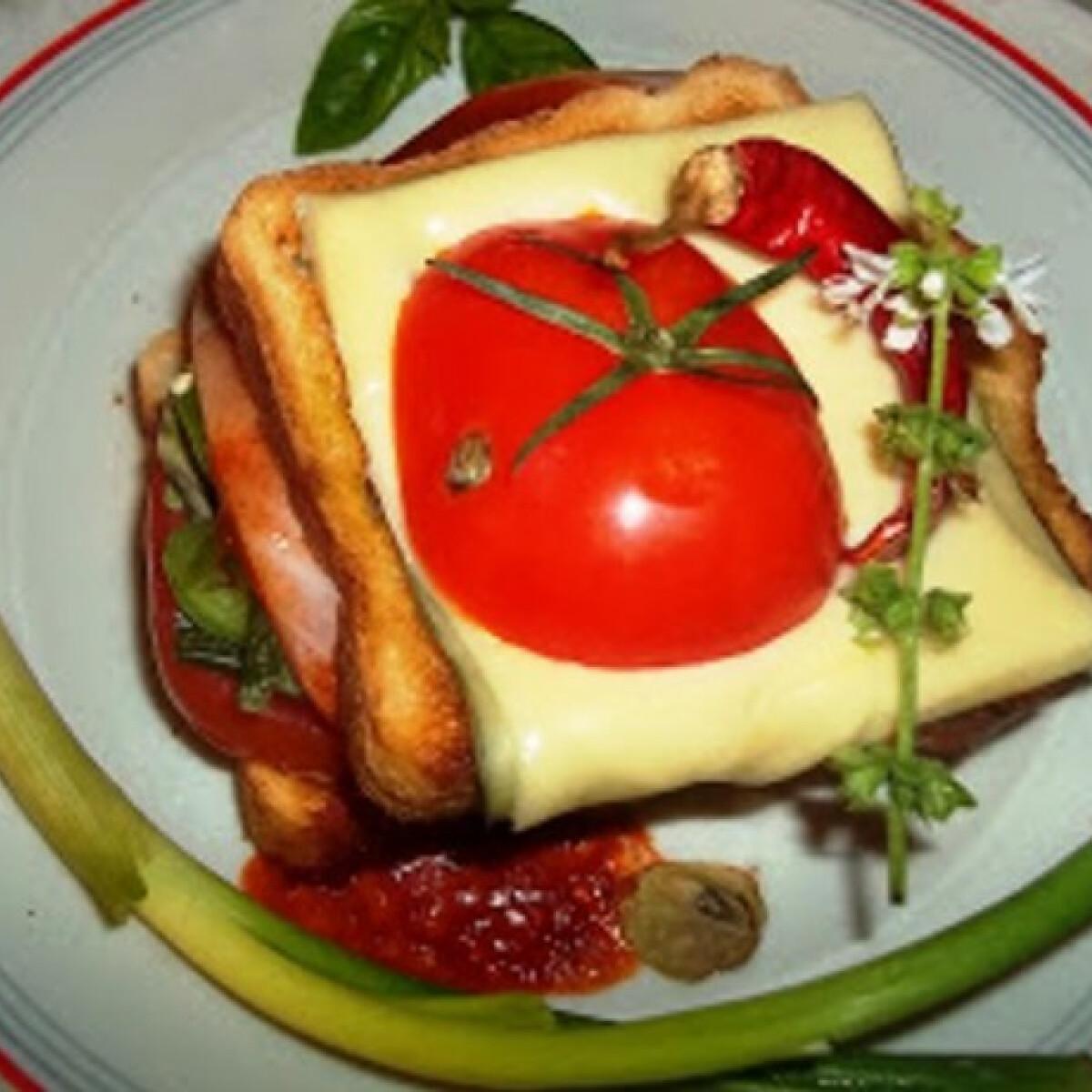 Ezen a képen: Dupla bruschetta sonkával sajttal