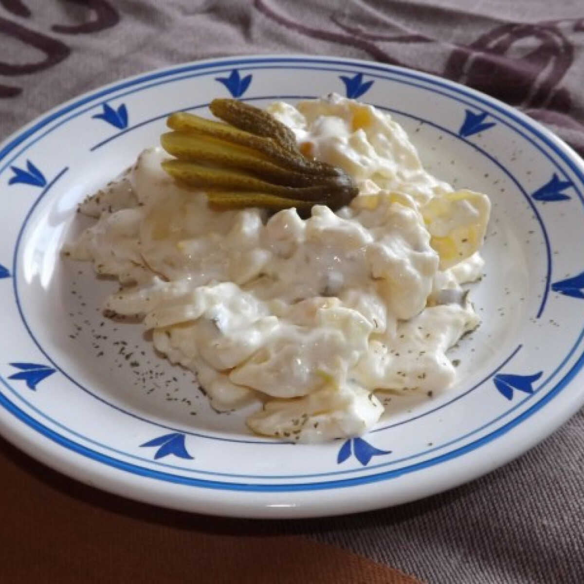 Ezen a képen: Krumplisaláta savanyú uborkával