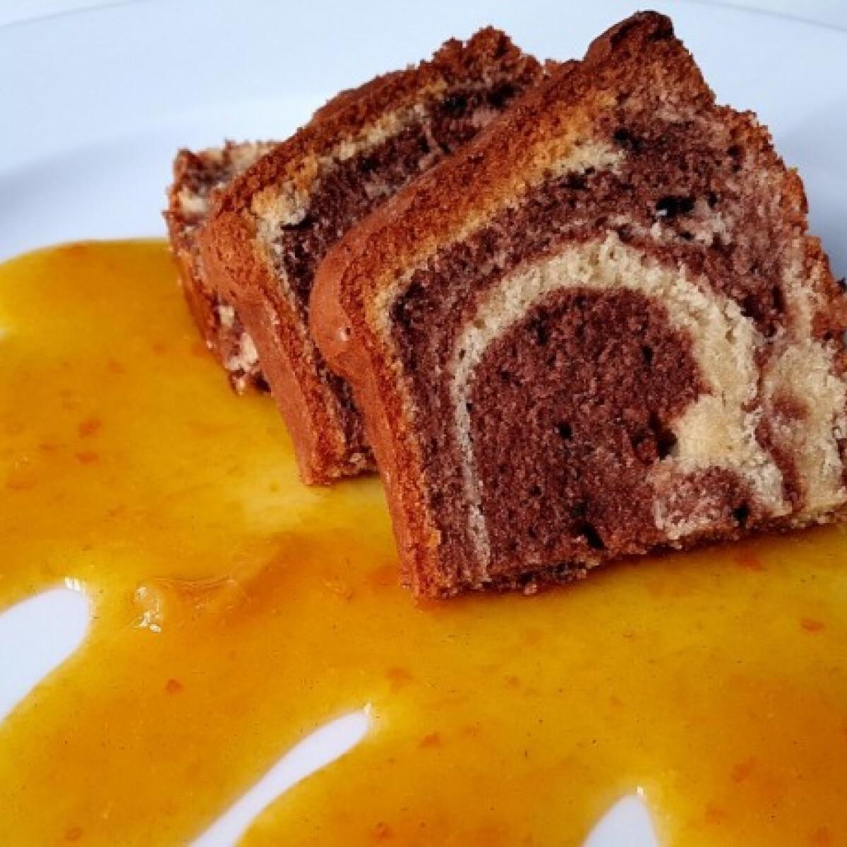 Márványos sütemény házi mandarinlekvárral