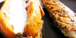 Fóliában sült batáta füstölt makrélával