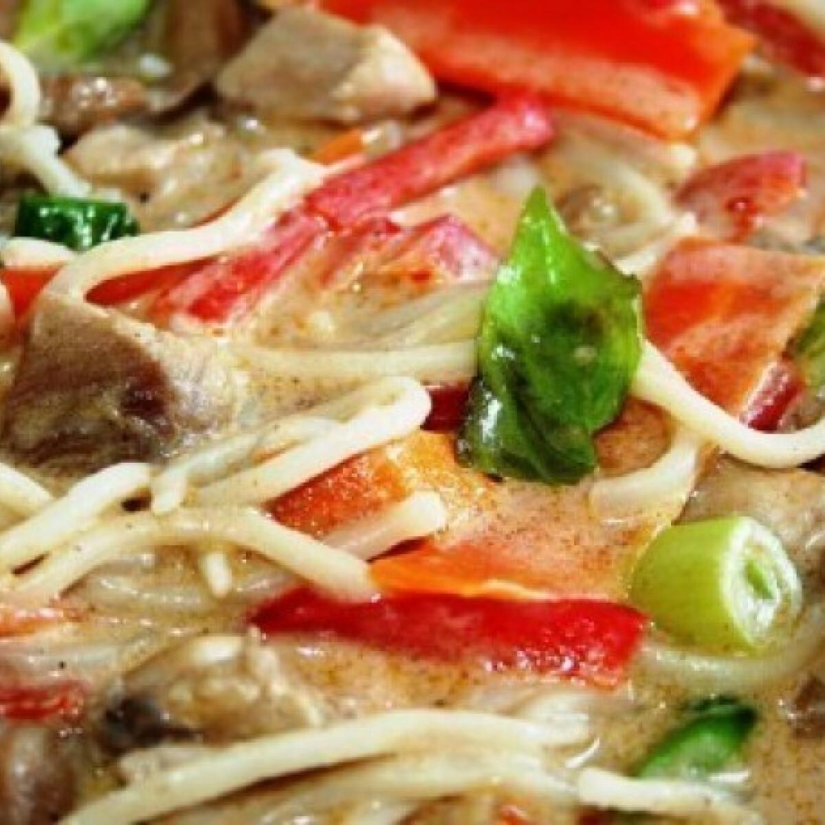 Kókusztejes thai-curry csirkével és tésztával