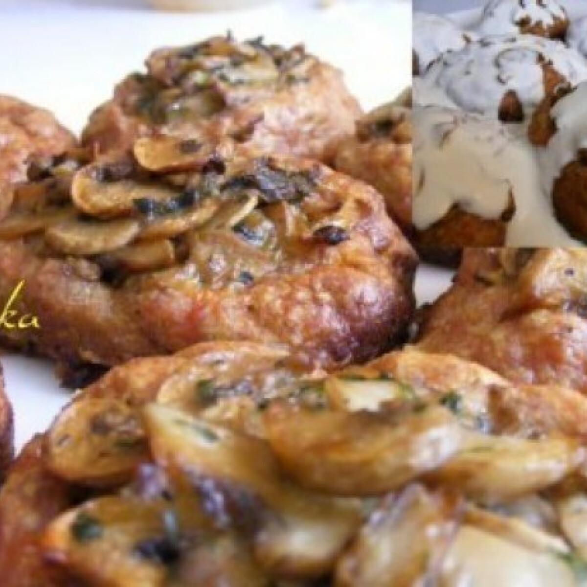 Ezen a képen: Gombás húspogácsa tejfölös mártással