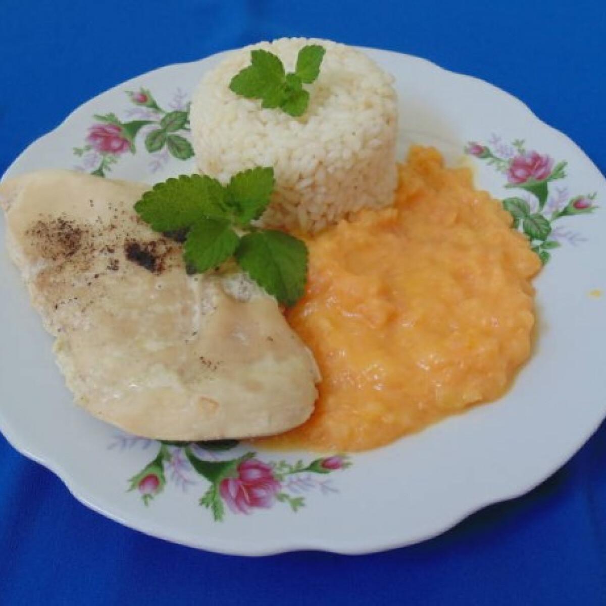 Ezen a képen: Natúr csirkemell rizzsel és sárgadinnyepürével