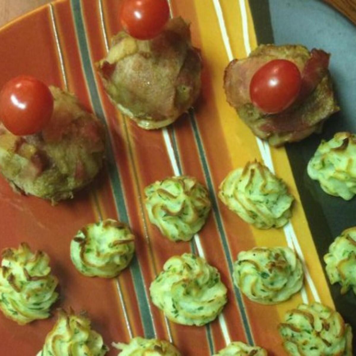 Ezen a képen: Muffin formában sült fasírt sült krumplipürével
