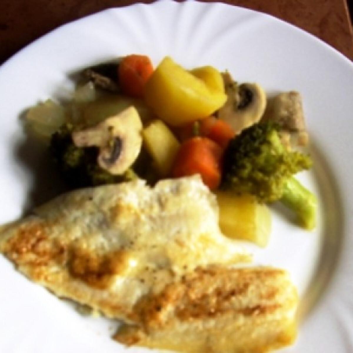 Lepényhal zöldségágyon