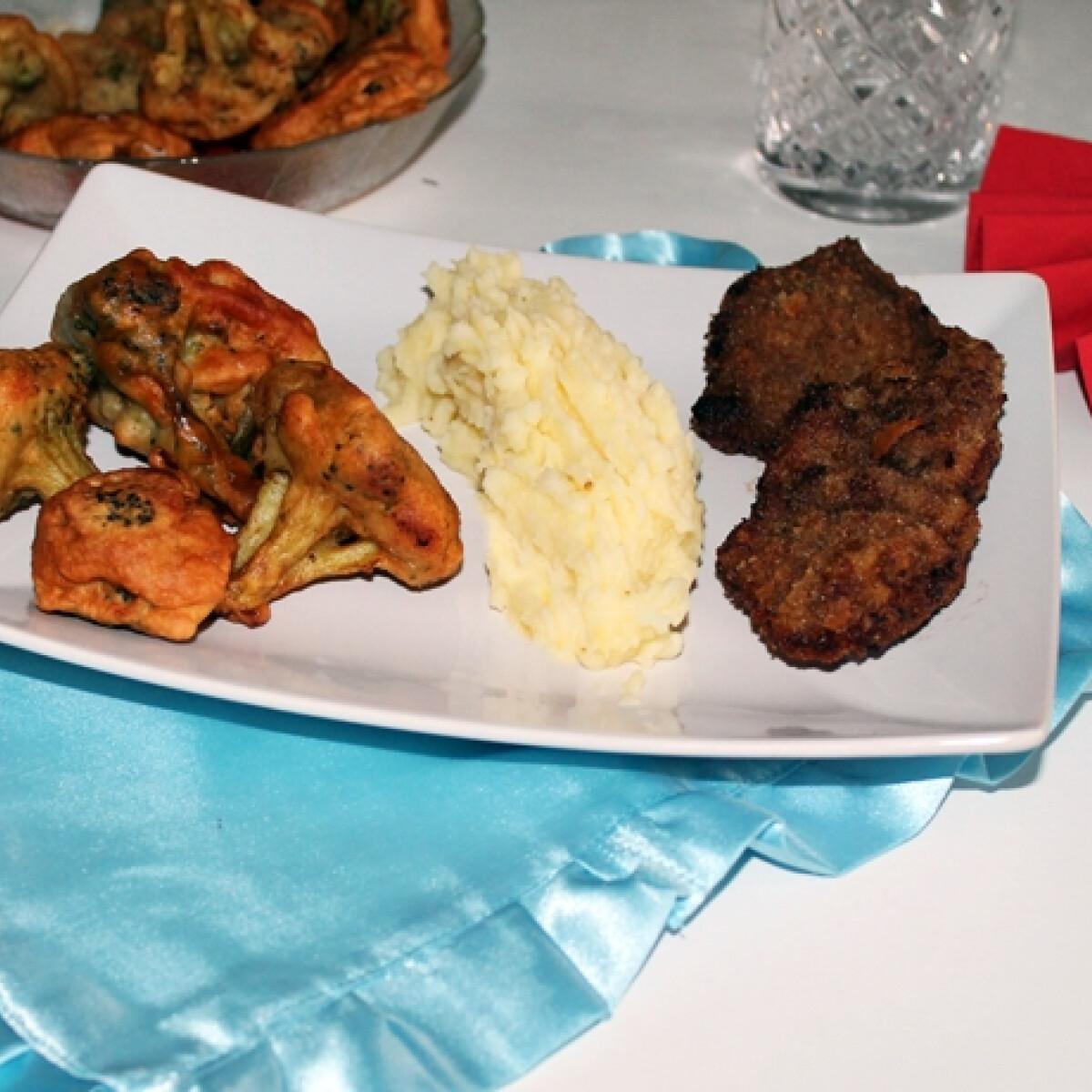Ezen a képen: Rántott sertésmáj párizsis brokkolival, pürével