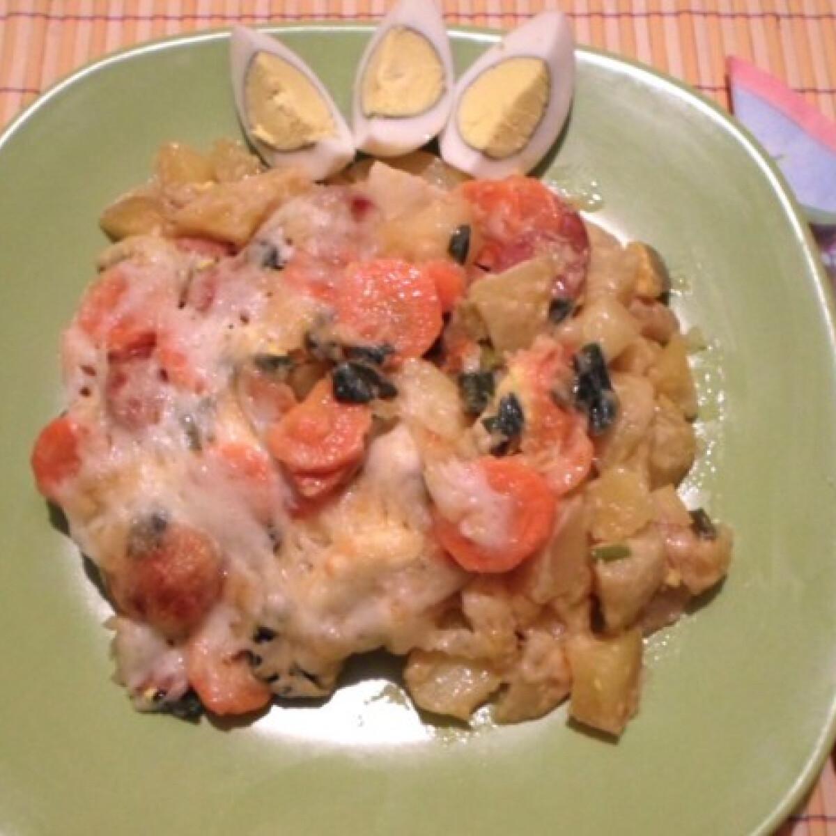 Zöldséges-tojásos rakott burgonya