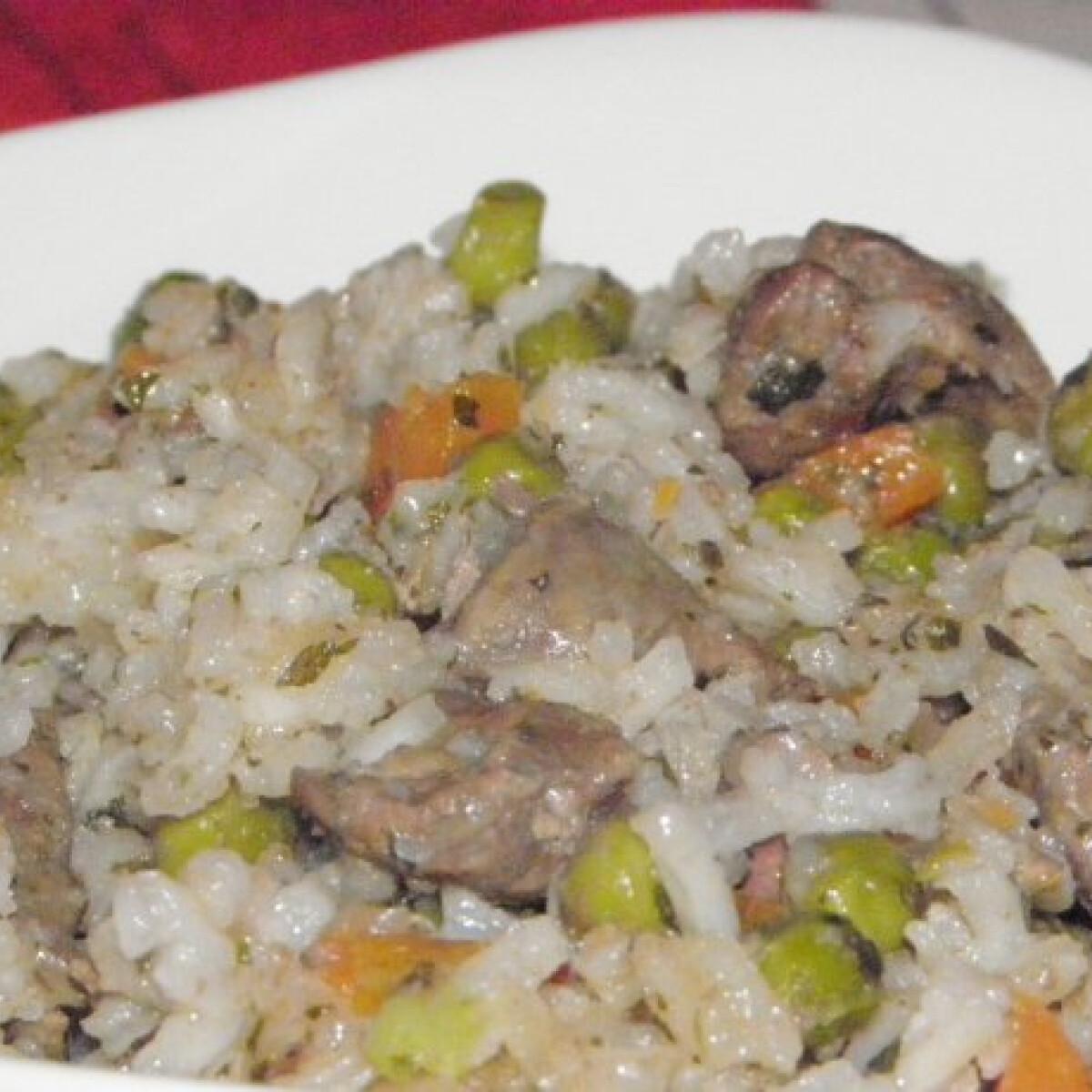 Ezen a képen: Csirkemájas rizottó Károly konyhájából