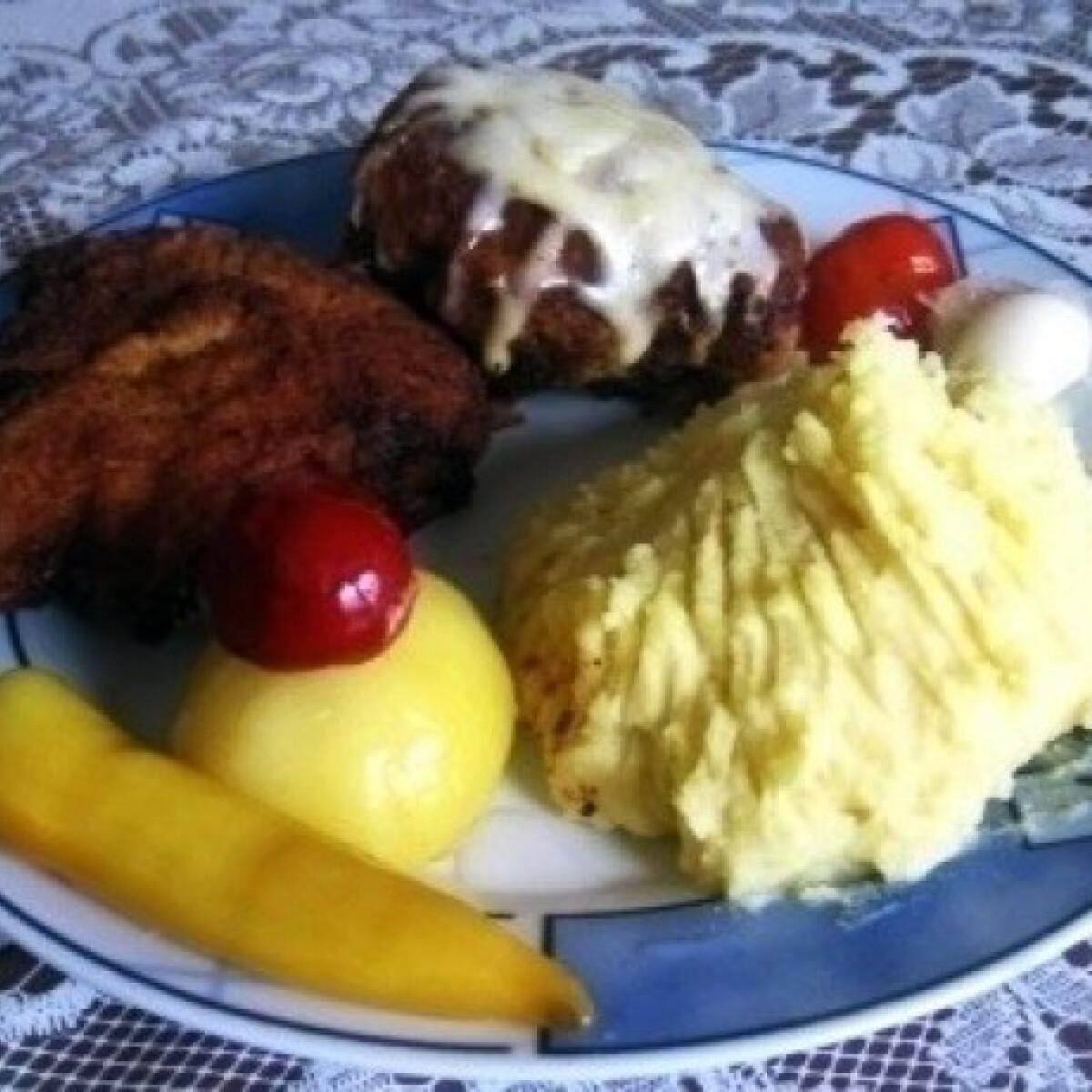 Ezen a képen: 2 féle sertéshús krumplipürével