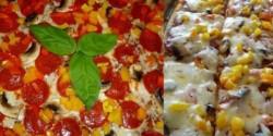 Gombás-paprikás-pepperonis pizza
